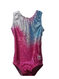 Sublimated Short Sleeve Leotard – Pink/Silver/Blue Gradient