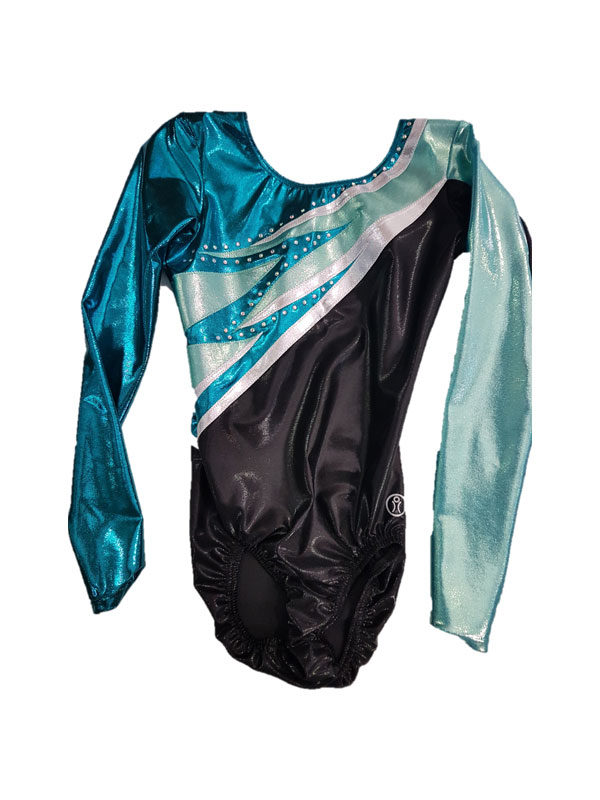 Long Sleeve Leotard – Black/Blue with Applique & Stones