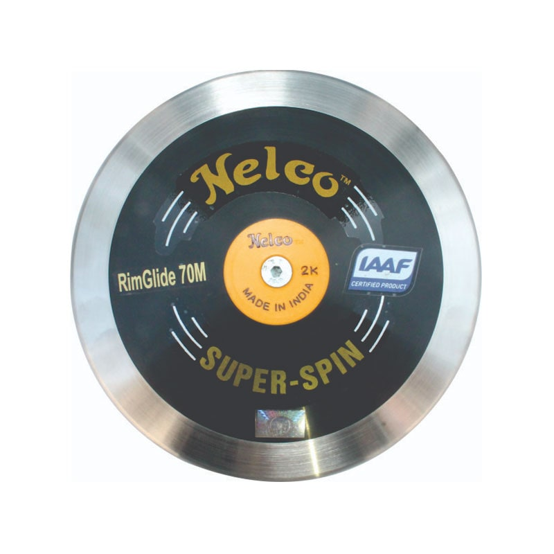 NELCO SUPER SPIN Black Discus 85/% Rim Weight IAAF Certified FREE Carry Bag