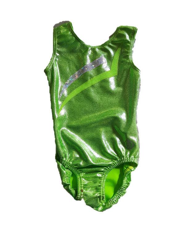 Short Sleeve Leotard – Lime Mystique with Applique