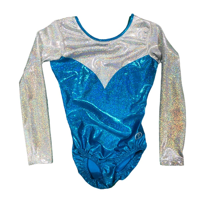 Long Sleeve Leotard Size 10 – Ocean Blue with White Silver inserts