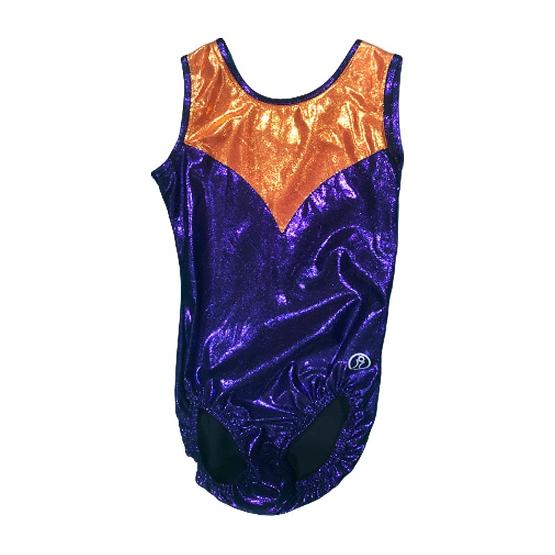 Short Sleeve Leotard Size 10 – Dark Purple Orange inserts