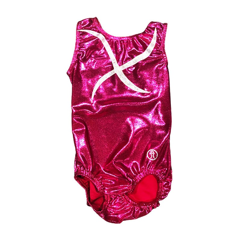 Short Sleeve Leotard Size 8 – Pink Fuchsia Valcano with applique