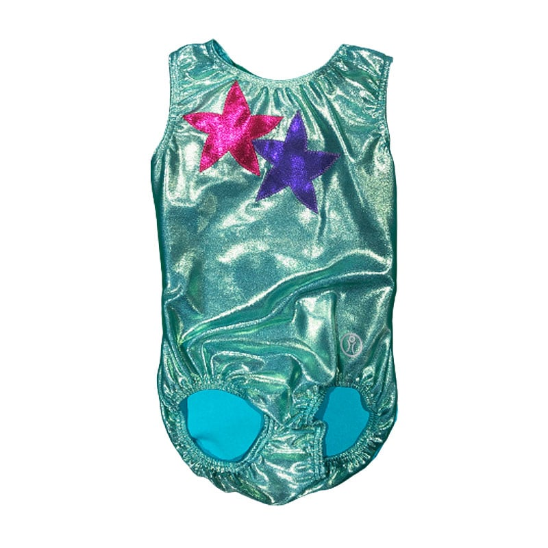 Short Sleeve Leotard Size 9 – Mint with Stars applique