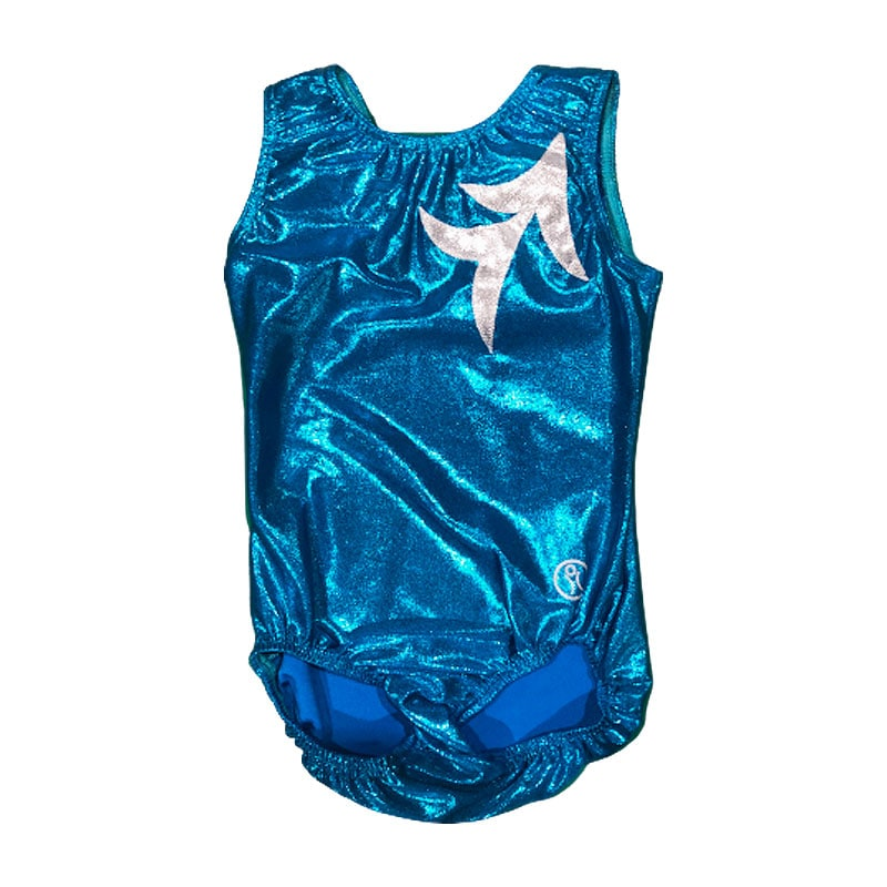 Short Sleeve Leotard Size 9 – Ocean Blue with White Silver applique